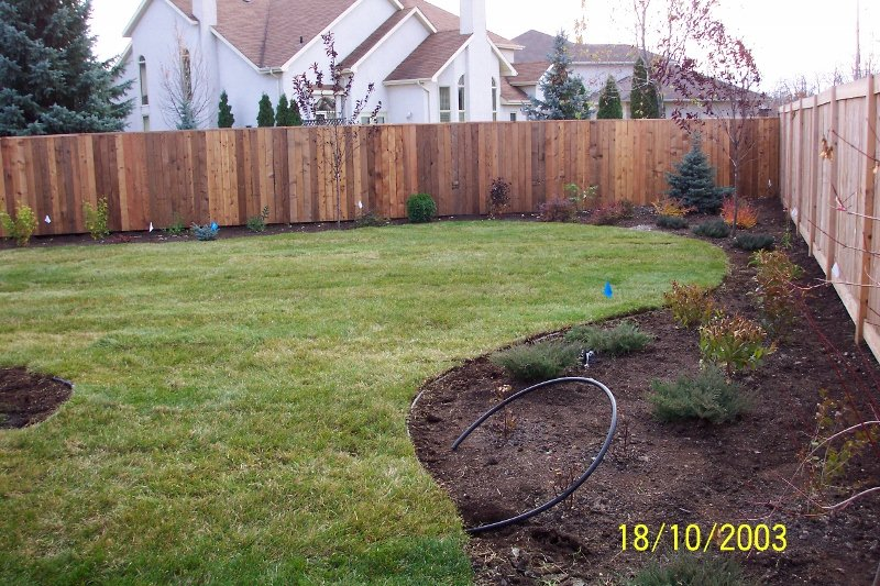 Soil, sod, and fence